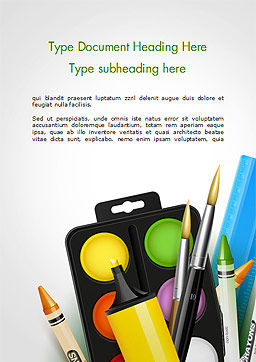 Background With School Supplies Word Template, Cover Page, 14788, 3D — PoweredTemplate.com