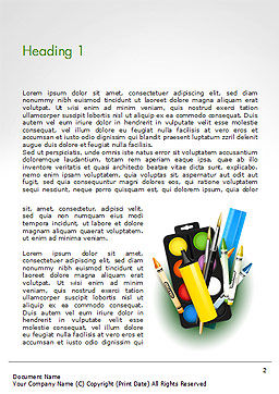 Background With School Supplies Word Template First Inner Page