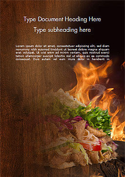 Kebab Sandwich Word Template, Cover Page, 14794, Food & Beverage — PoweredTemplate.com