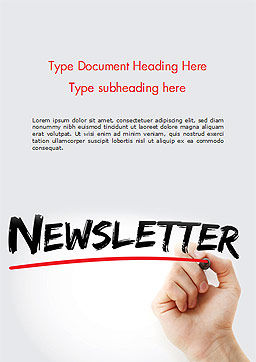 A Hand Writing Newsletter with Marker Word Template Cover Page