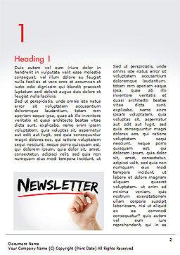 A Hand Writing Newsletter with Marker Word Template First Inner Page