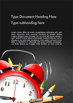 Alarm Clock and Crayons Word Template, Cover Page, 14802, Education & Training — PoweredTemplate.com