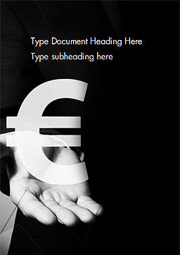 Businessman Holding Euro Sign Word Template Cover Page