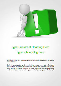 3D Human And Green Exclamation Mark Cube Word Template Cover Page