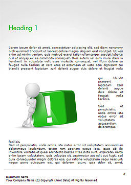 3D Human And Green Exclamation Mark Cube Word Template First Inner Page