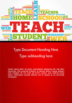 Teach Word Cloud Word Template, Cover Page, 14816, Education & Training — PoweredTemplate.com