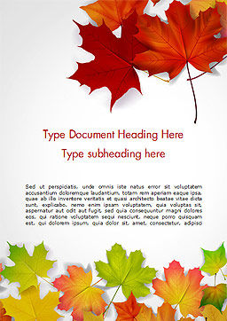 Autumn Maple Leaves Word Template Cover Page