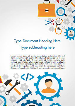 Tools and Gears Word Template, Cover Page, 14827, 3D — PoweredTemplate.com