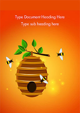 Beehive and Bees Illustration Word Template, Cover Page, 14830, Food & Beverage — PoweredTemplate.com