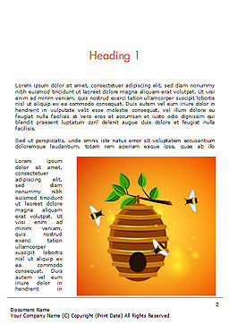 Beehive and Bees Illustration Word Template, First Inner Page, 14830, Food & Beverage — PoweredTemplate.com