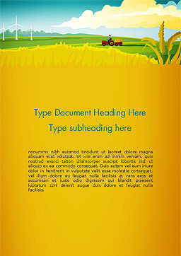 Idyllic Farm Landscape Word Template, Cover Page, 14834, Agriculture and Animals — PoweredTemplate.com