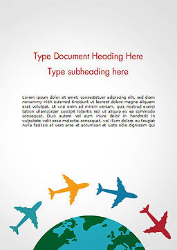 Airplane Travel Concept Word Template, Cover Page, 14836, Global — PoweredTemplate.com