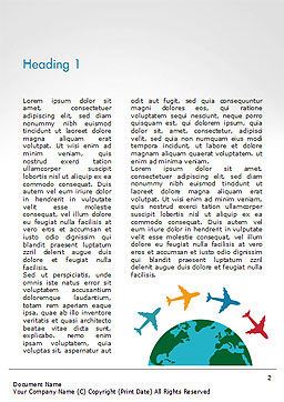 Airplane Travel Concept Word Template, First Inner Page, 14836, Global — PoweredTemplate.com