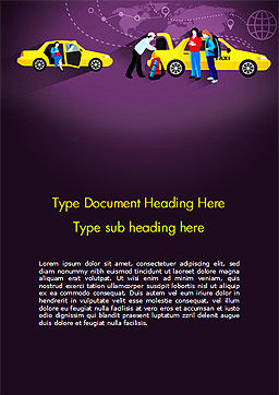 World Taxi Service Word Template, Cover Page, 14838, Cars/Transportation — PoweredTemplate.com