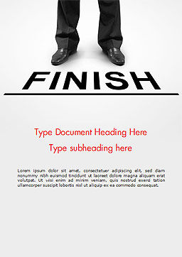 Businessman Standing on Finish Line Word Template Cover Page