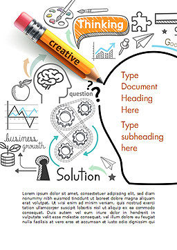 Creative Thinking Doodles Word Template, Cover Page, 14842, Business Concepts — PoweredTemplate.com