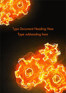 Fire Gear Mechanism Word Template, Cover Page, 14845, 3D — PoweredTemplate.com