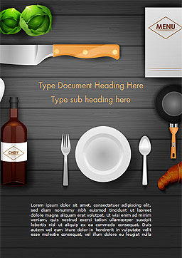 Kitchen Utensil Illustration Word Template, Cover Page, 14851, Food & Beverage — PoweredTemplate.com