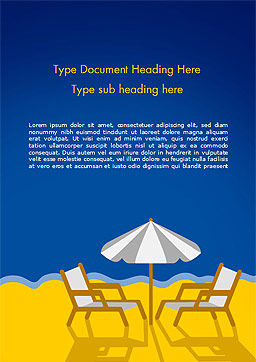 Beach Chairs with Umbrella Illustration Word Template Cover Page
