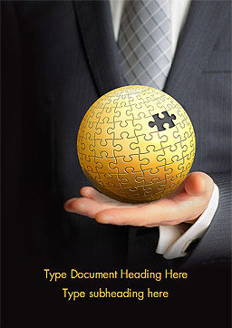 Business Man Hold a Puzzle Globe Word Template Cover Page