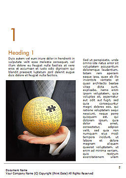 Business Man Hold a Puzzle Globe Word Template First Inner Page