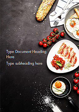 Cooking a Breakfast Word Template, Cover Page, 14874, Food & Beverage — PoweredTemplate.com
