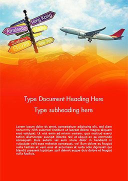 Directional Cities And Airplane in The Sky Word Template, Cover Page, 14888, Careers/Industry — PoweredTemplate.com