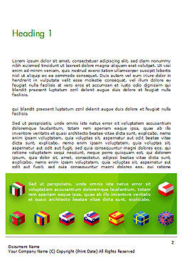 European Flags Concept Word Template, First Inner Page, 14891, Flags/International — PoweredTemplate.com