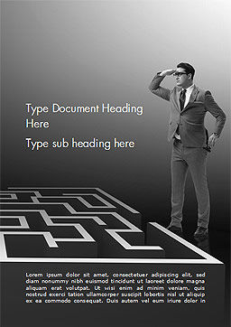 Man Trying to Reach a Result Through Maze Word Template, Cover Page, 14902, Business Concepts — PoweredTemplate.com