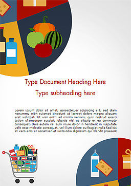 Shopping Trolley of Food Word Template, Cover Page, 14913, Careers/Industry — PoweredTemplate.com