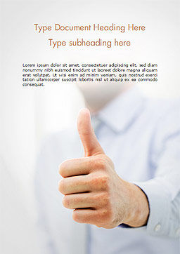 Business Man Shows Thumb Up Word Template, Cover Page, 14915, Business Concepts — PoweredTemplate.com