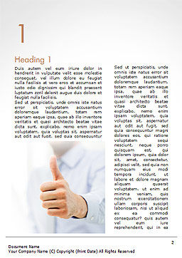 Business Man Shows Thumb Up Word Template, First Inner Page, 14915, Business Concepts — PoweredTemplate.com