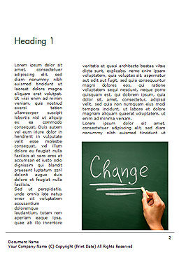 Blackboard Concept for The Word Change Word Template, First Inner Page, 14924, Education & Training — PoweredTemplate.com