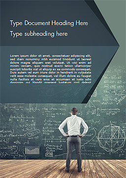 Man Looking at the Chalkboard with Formulas Word Template, Cover Page, 14938, Education & Training — PoweredTemplate.com