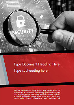 Information Data Security Concept Word Template, Cover Page, 14950, 3D — PoweredTemplate.com