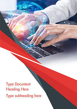 Woman Using Laptop to Connect Social Network Word Template, Cover Page, 14957, 3D — PoweredTemplate.com