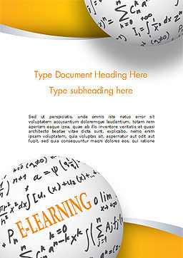E-Learning Word with Formulas Word Template, Cover Page, 14959, Education & Training — PoweredTemplate.com