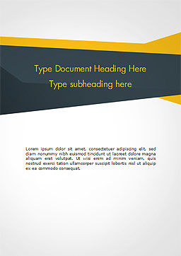 Yellow and Dark Grey Abstract Word Template, Cover Page, 14967, 3D — PoweredTemplate.com