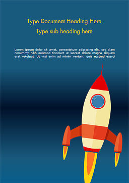 Cartoon Flying Rocket Word Template, Cover Page, 14970, Business Concepts — PoweredTemplate.com