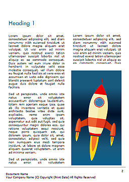 Cartoon Flying Rocket Word Template, First Inner Page, 14970, Business Concepts — PoweredTemplate.com