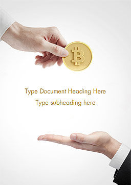 Hand Giving Bitcoin Word Template, Cover Page, 14973, Business — PoweredTemplate.com