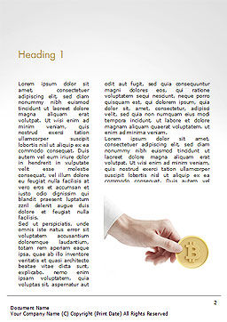 Hand Giving Bitcoin Word Template, First Inner Page, 14973, Business — PoweredTemplate.com