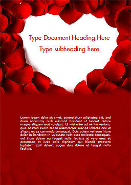 Beautiful Heart of Red Rose Petals Word Template, Cover Page, 14975, Holiday/Special Occasion — PoweredTemplate.com