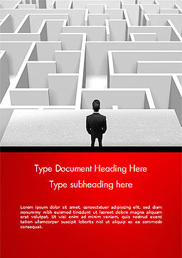 Businessman Staring at Infinite Maze Word Template, Cover Page, 14978, Business Concepts — PoweredTemplate.com