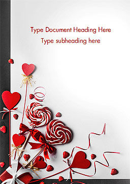 Heart Shaped Lollipops Word Template, Cover Page, 14981, Holiday/Special Occasion — PoweredTemplate.com