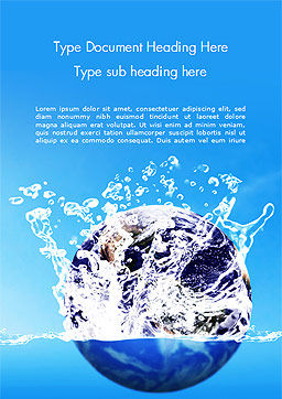 Earth in Water Splash Word Template, Cover Page, 14982, Nature & Environment — PoweredTemplate.com