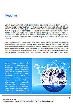 Earth in Water Splash Word Template, First Inner Page, 14982, Nature & Environment — PoweredTemplate.com
