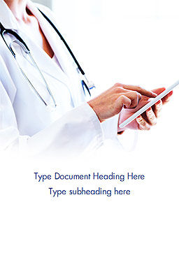 Physician with Tablet Word Template, Cover Page, 14988, Medical — PoweredTemplate.com