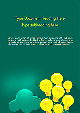 Flying Light Bulbs Word Template, Cover Page, 14990, Business Concepts — PoweredTemplate.com