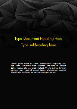 Dark Abstract Geometric Triangles Word Template, Cover Page, 14991, Abstract/Textures — PoweredTemplate.com